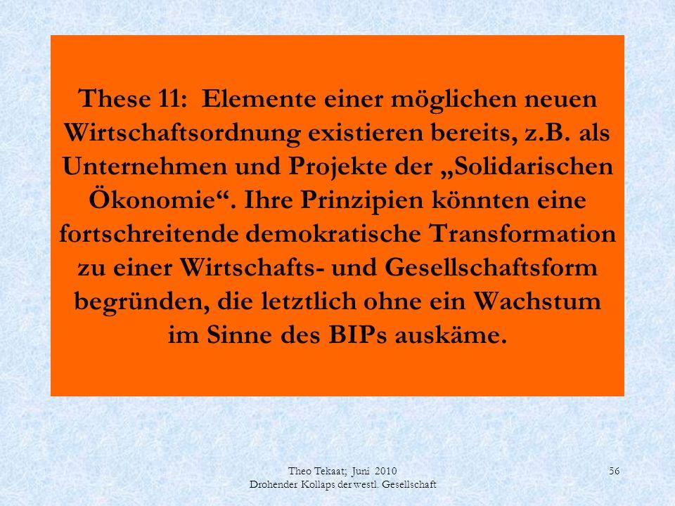 Theo Tekaat; Juni 2010 Drohender Kollaps der westl. Gesellschaft 56 These 11: Elemente einer möglichen neuen Wirtschaftsordnung existieren bereits, z.