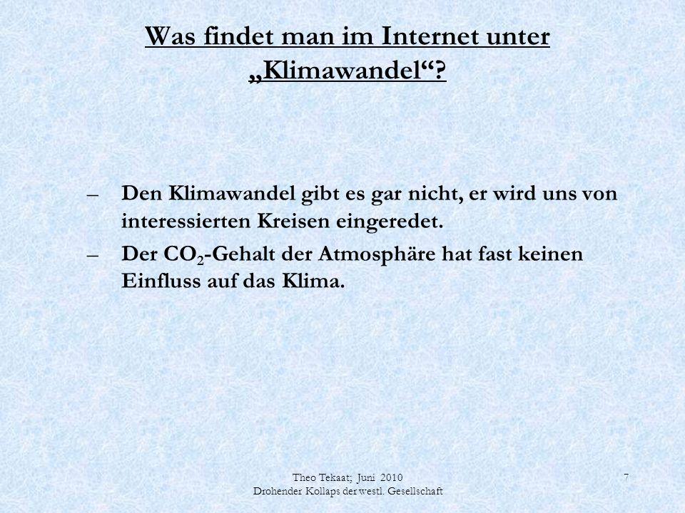 Theo Tekaat; Juni 2010 Drohender Kollaps der westl. Gesellschaft 7 Was findet man im Internet unter Klimawandel? –Den Klimawandel gibt es gar nicht, e