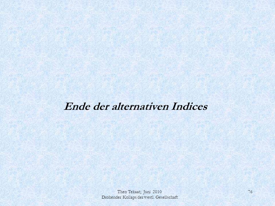Theo Tekaat; Juni 2010 Drohender Kollaps der westl. Gesellschaft 76 Ende der alternativen Indices