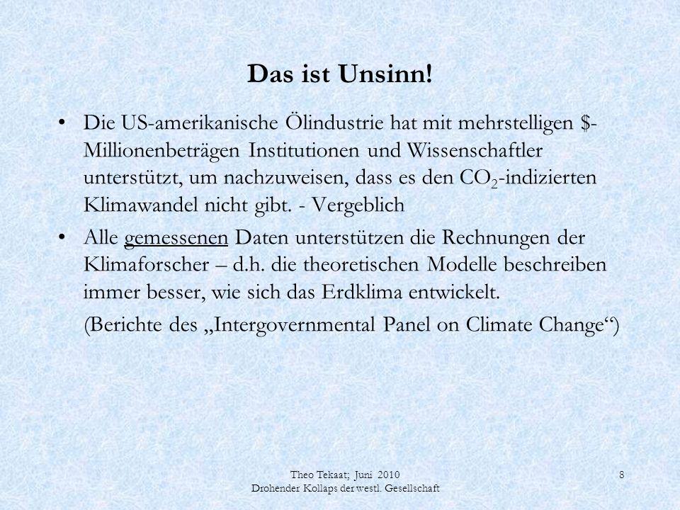 Theo Tekaat; Juni 2010 Drohender Kollaps der westl. Gesellschaft 19 Großtechnische Stromerzeugung