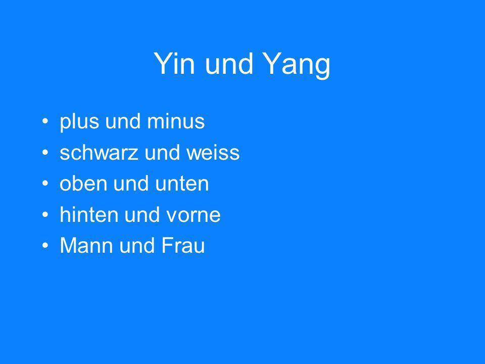 Yin und Yang plus und minus schwarz und weiss oben und unten hinten und vorne Mann und Frau