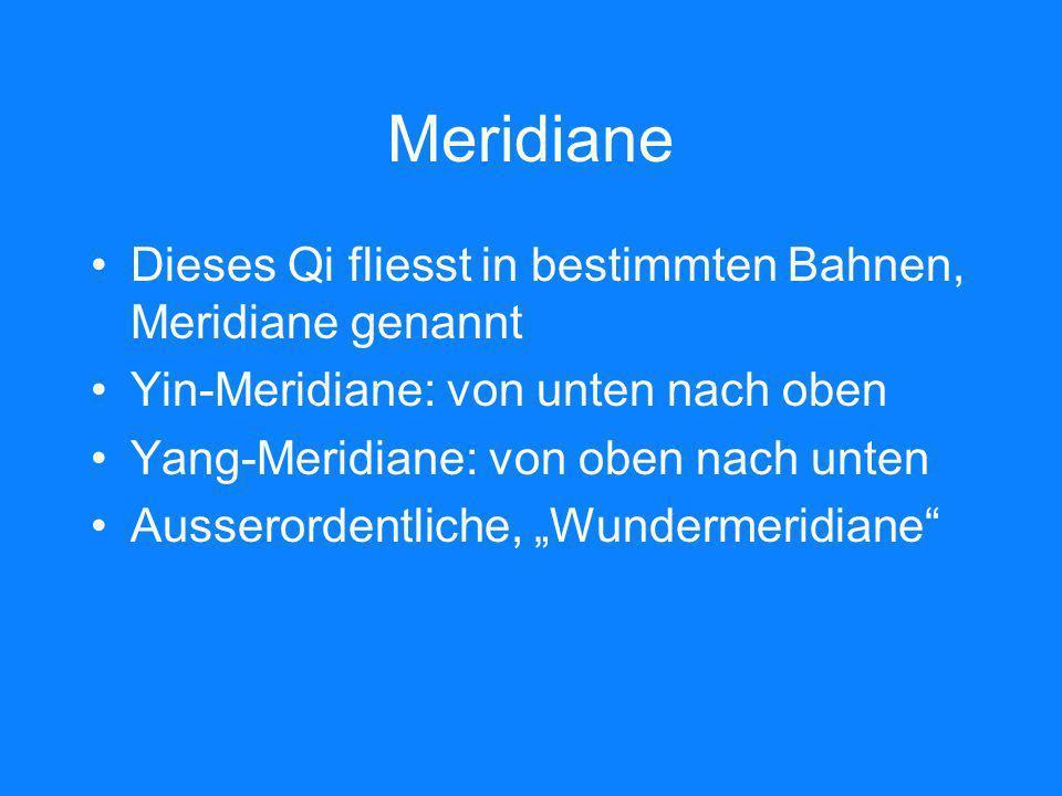 Meridiane Dieses Qi fliesst in bestimmten Bahnen, Meridiane genannt Yin-Meridiane: von unten nach oben Yang-Meridiane: von oben nach unten Ausserorden