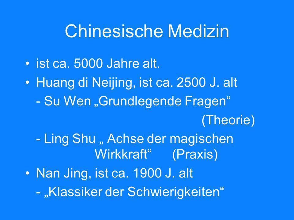 Chinesische Medizin ist ca. 5000 Jahre alt. Huang di Neijing, ist ca. 2500 J. alt - Su Wen Grundlegende Fragen (Theorie) - Ling Shu Achse der magische