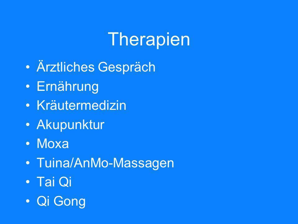 Therapien Ärztliches Gespräch Ernährung Kräutermedizin Akupunktur Moxa Tuina/AnMo-Massagen Tai Qi Qi Gong