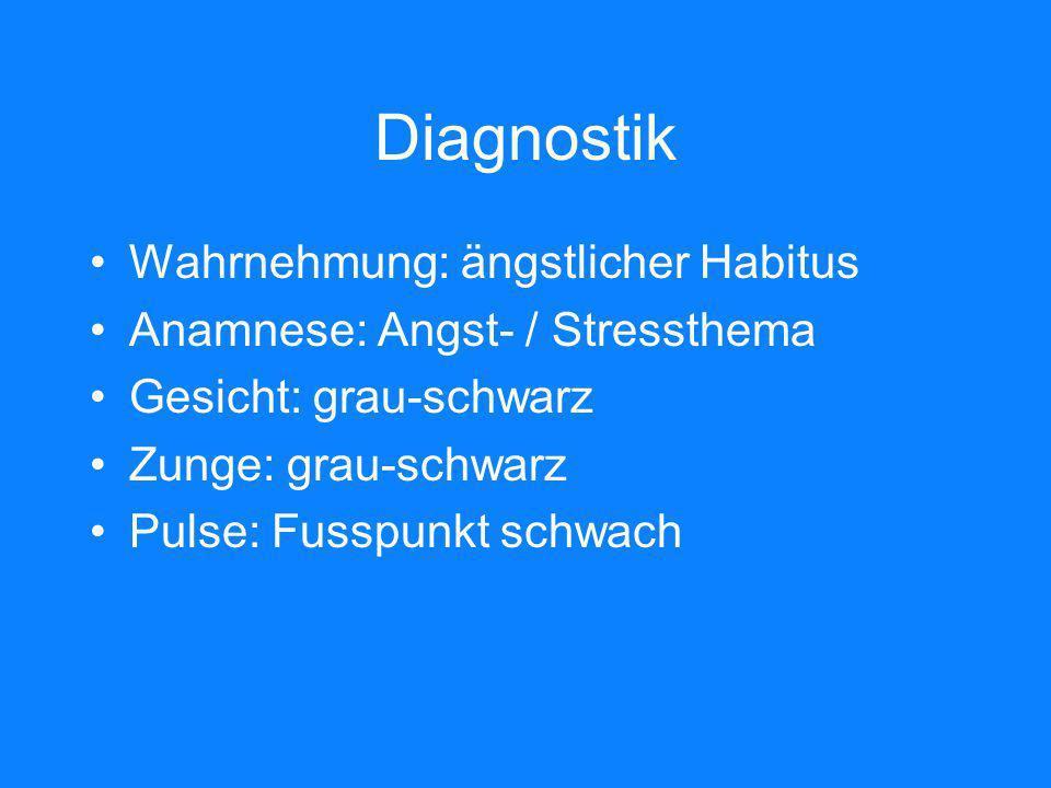 Diagnostik Wahrnehmung: ängstlicher Habitus Anamnese: Angst- / Stressthema Gesicht: grau-schwarz Zunge: grau-schwarz Pulse: Fusspunkt schwach