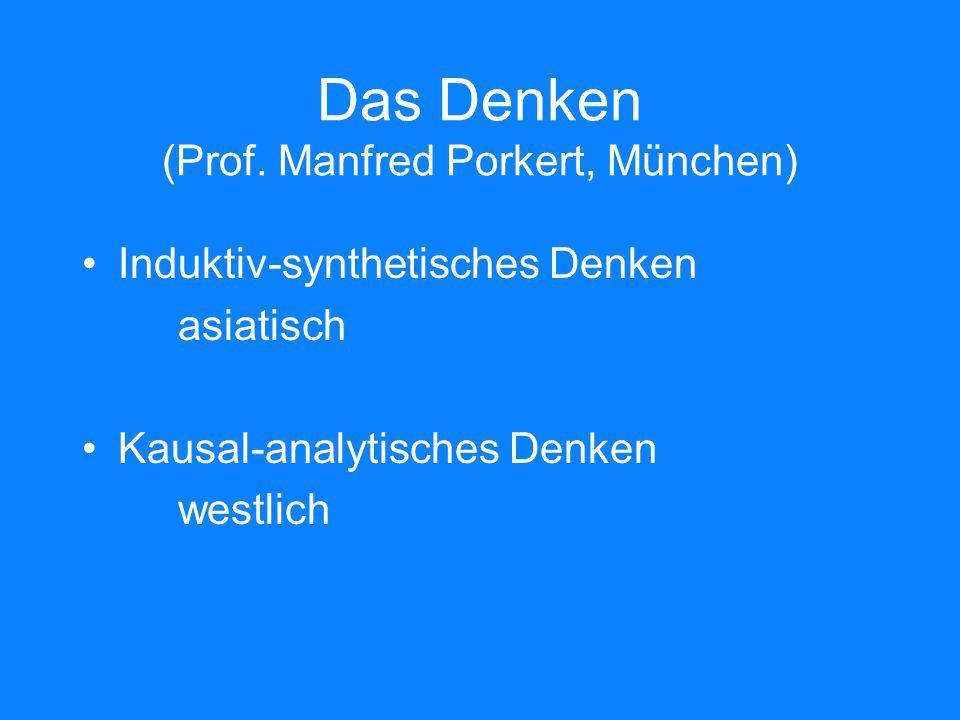 Das Denken (Prof. Manfred Porkert, München) Induktiv-synthetisches Denken asiatisch Kausal-analytisches Denken westlich