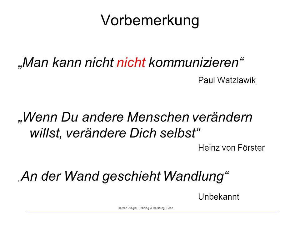Vorbemerkung Man kann nicht nicht kommunizieren Paul Watzlawik Wenn Du andere Menschen verändern willst, verändere Dich selbst Heinz von Förster An de