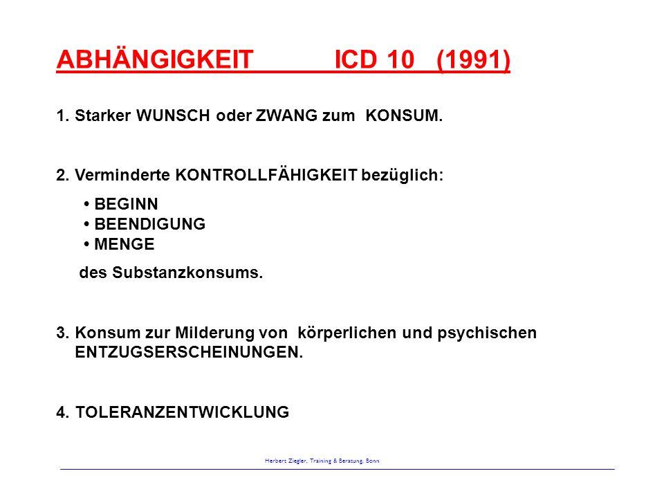 Herbert Ziegler, Training & Beratung, Bonn ABHÄNGIGKEIT ICD 10 (1991) 1. Starker WUNSCH oder ZWANG zum KONSUM. 2. Verminderte KONTROLLFÄHIGKEIT bezügl