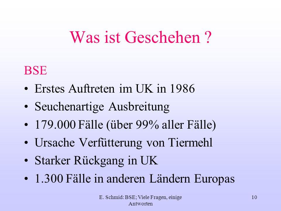 E. Schmid: BSE; Viele Fragen, einige Antworten 10 Was ist Geschehen ? BSE Erstes Auftreten im UK in 1986 Seuchenartige Ausbreitung 179.000 Fälle (über