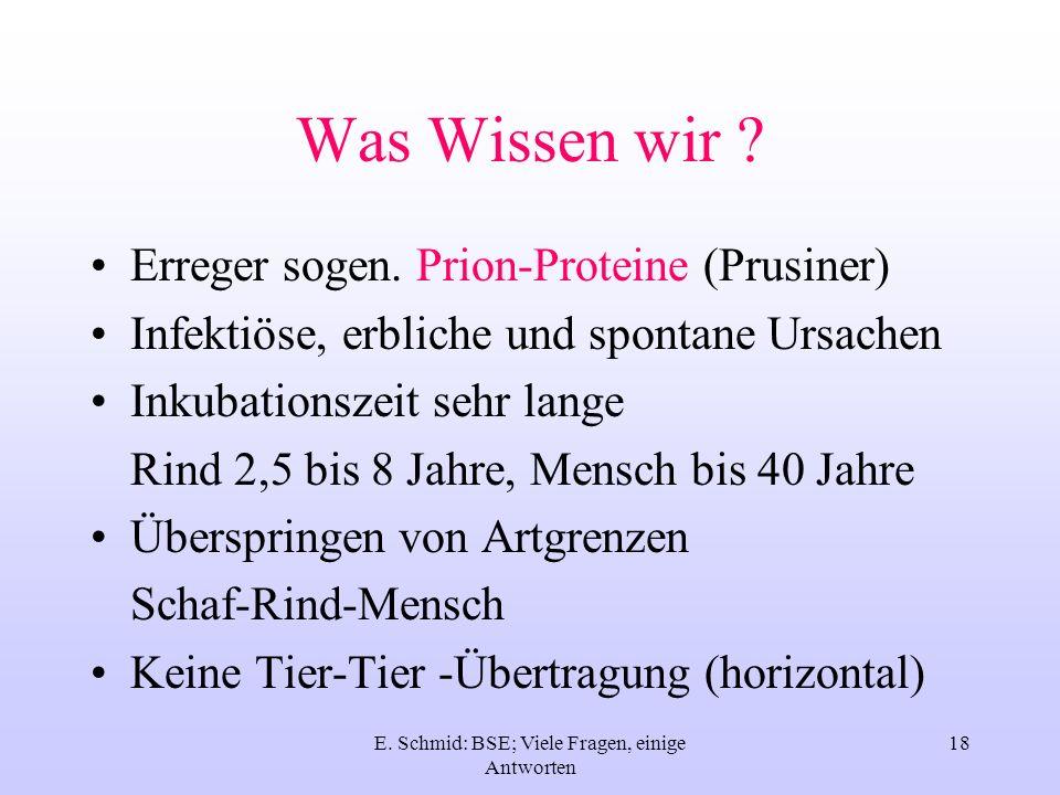 E. Schmid: BSE; Viele Fragen, einige Antworten 18 Was Wissen wir ? Erreger sogen. Prion-Proteine (Prusiner) Infektiöse, erbliche und spontane Ursachen