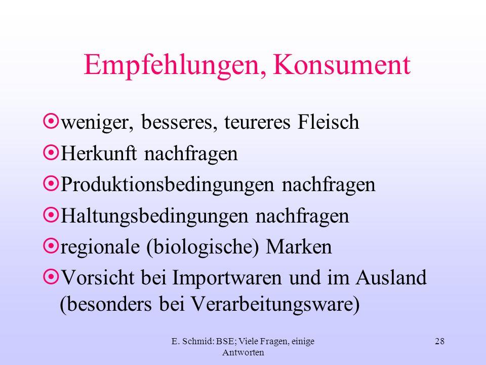 E. Schmid: BSE; Viele Fragen, einige Antworten 28 Empfehlungen, Konsument weniger, besseres, teureres Fleisch Herkunft nachfragen Produktionsbedingung