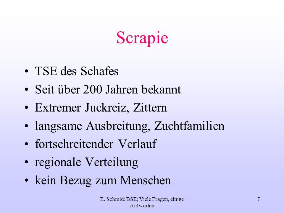 E. Schmid: BSE; Viele Fragen, einige Antworten 7 Scrapie TSE des Schafes Seit über 200 Jahren bekannt Extremer Juckreiz, Zittern langsame Ausbreitung,