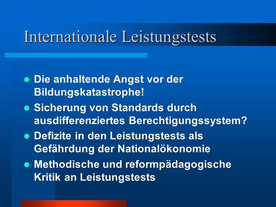 Internationale Leistungstests Die anhaltende Angst vor der Bildungskatastrophe! Sicherung von Standards durch ausdifferenziertes Berechtigungssystem?