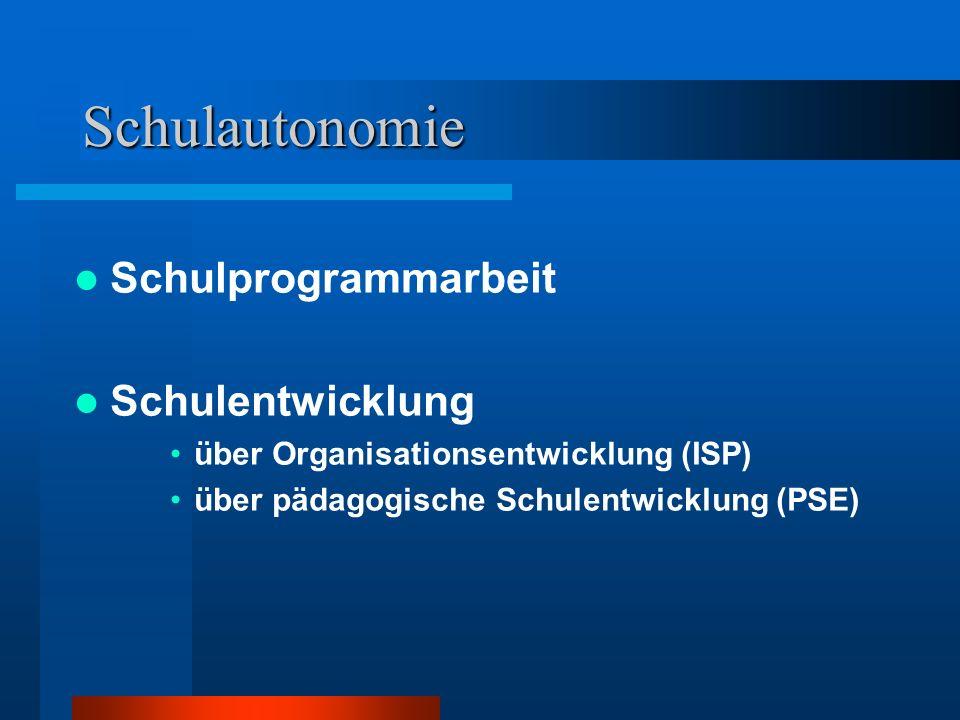 Schulautonomie Schulprogrammarbeit Schulentwicklung über Organisationsentwicklung (ISP) über pädagogische Schulentwicklung (PSE)