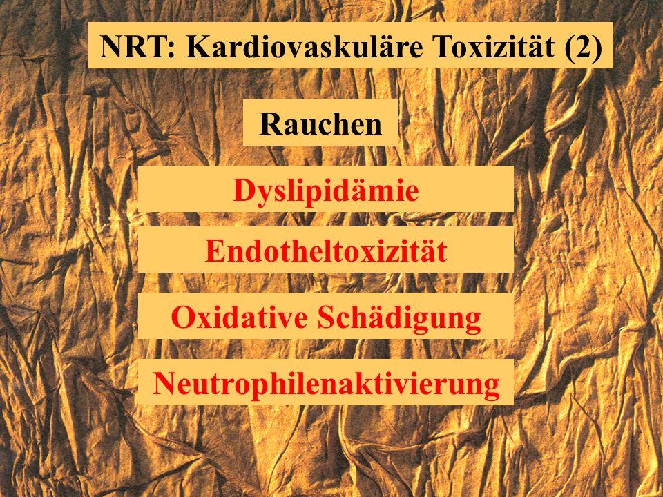 NRT: Kardiovaskuläre Toxizität (1) Rauchen Hyperkoagulabilität Koronarvasokonstriktion Herzarbeit erhöht Kohlenmonoxyd Katecholaminausschüttung