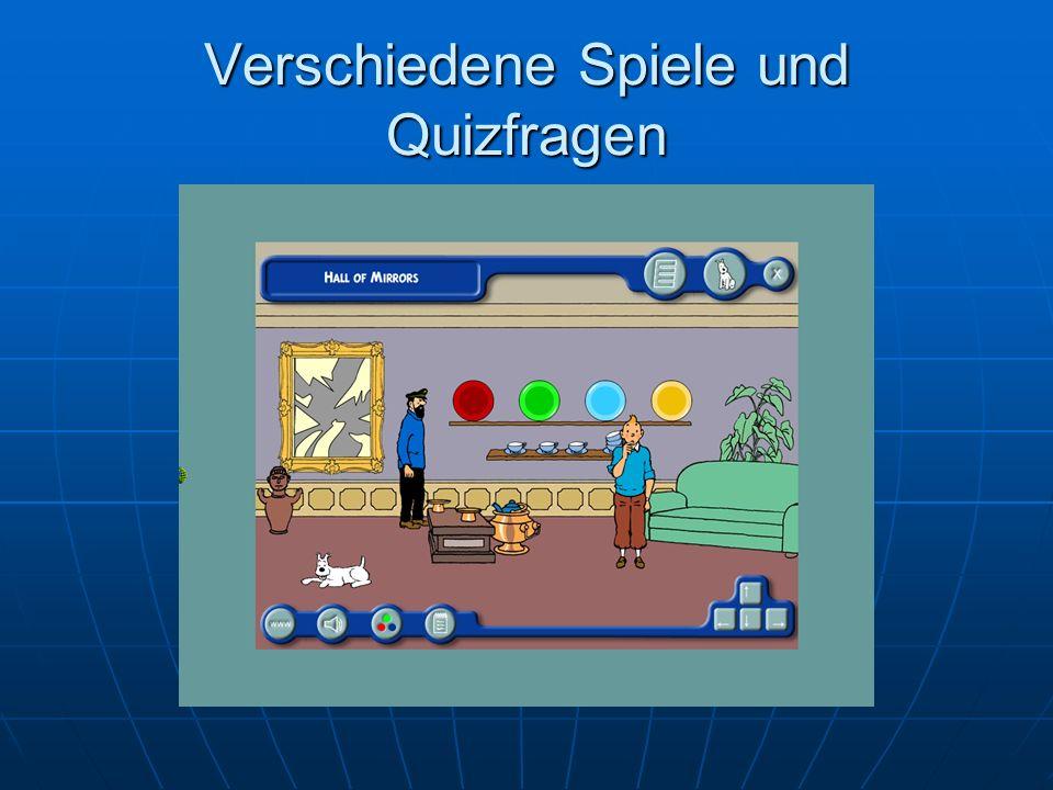 Verschiedene Spiele und Quizfragen