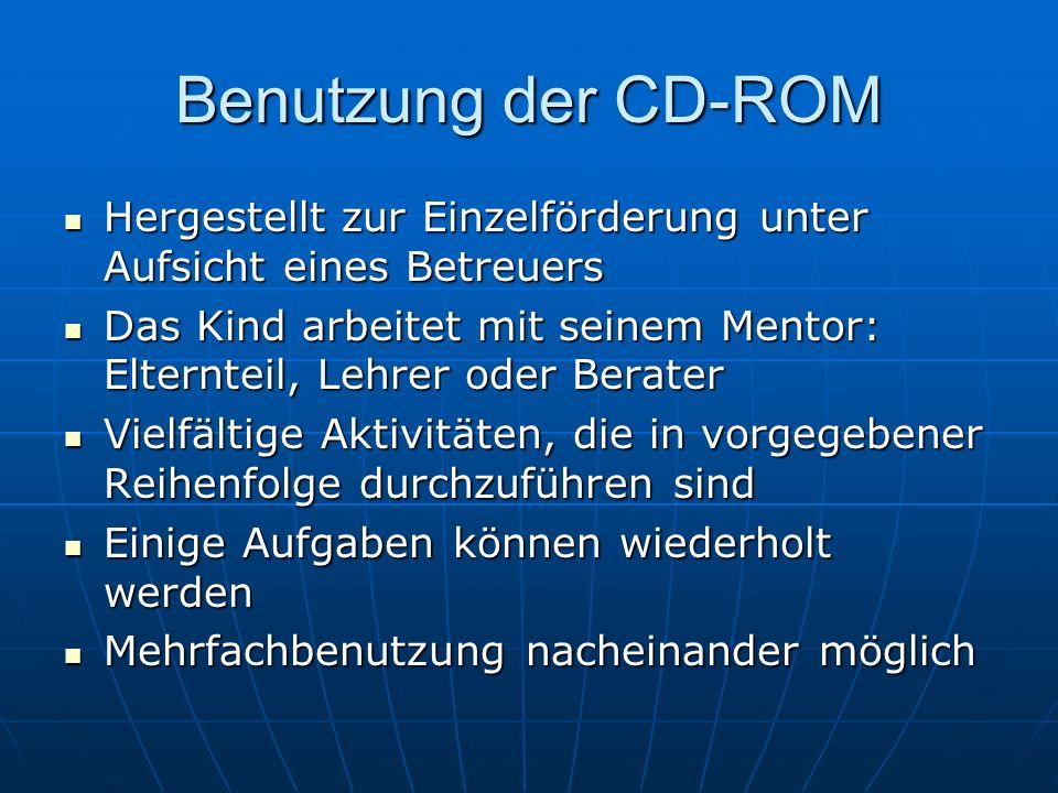 Benutzung der CD-ROM Hergestellt zur Einzelförderung unter Aufsicht eines Betreuers Hergestellt zur Einzelförderung unter Aufsicht eines Betreuers Das