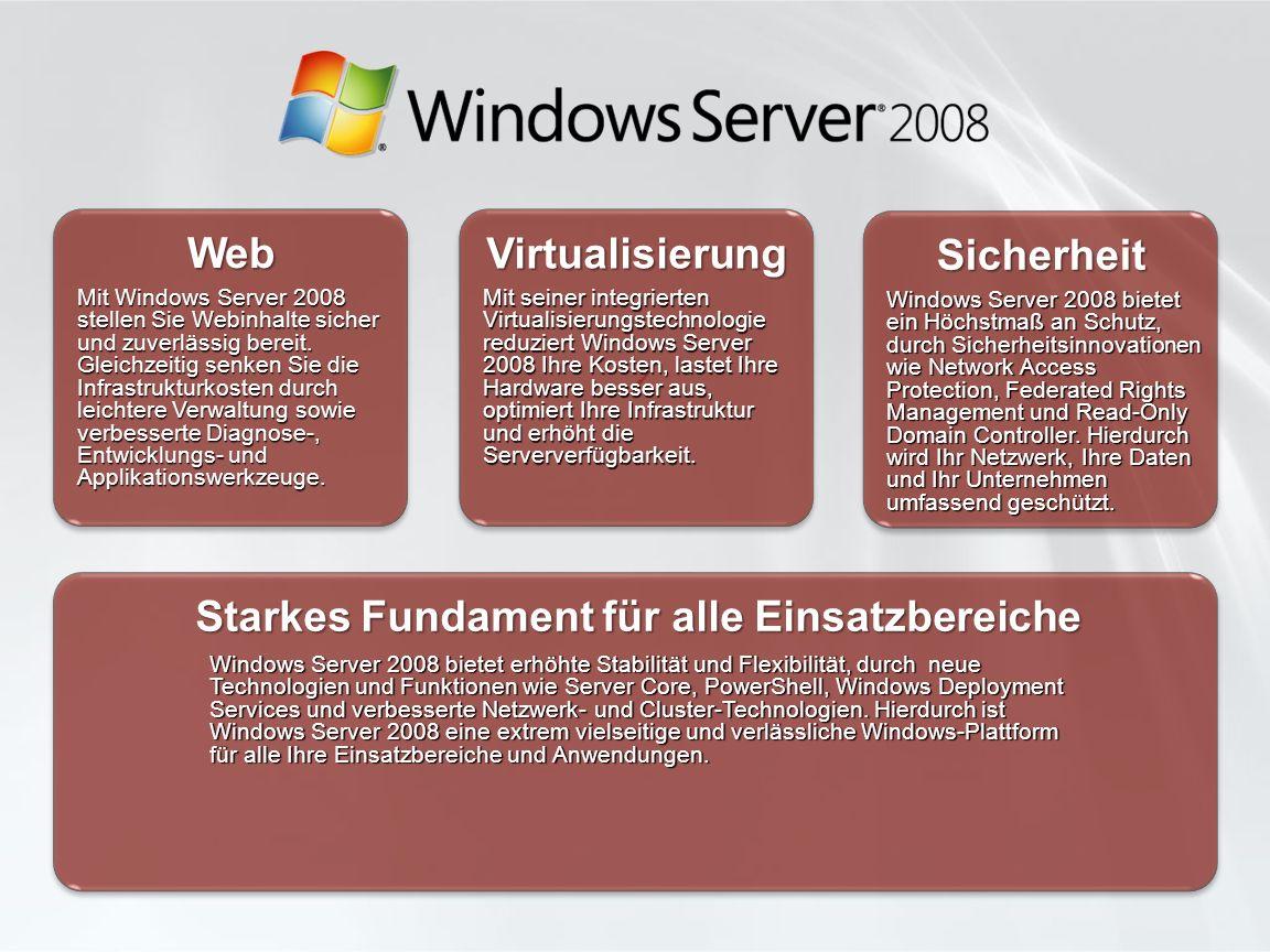 Mit seiner integrierten Virtualisierungstechnologie reduziert Windows Server 2008 Ihre Kosten, lastet Ihre Hardware besser aus, optimiert Ihre Infrastruktur und erhöht die Serververfügbarkeit.