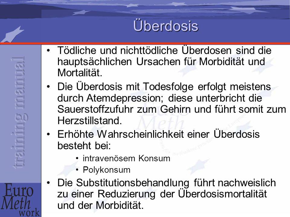 Überdosis Tödliche und nichttödliche Überdosen sind die hauptsächlichen Ursachen für Morbidität und Mortalität. Die Überdosis mit Todesfolge erfolgt m