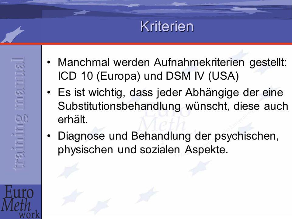 Kriterien Manchmal werden Aufnahmekriterien gestellt: ICD 10 (Europa) und DSM IV (USA) Es ist wichtig, dass jeder Abhängige der eine Substitutionsbeha