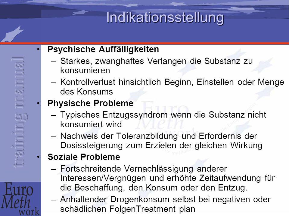 Indikationsstellung Psychische Auffälligkeiten –Starkes, zwanghaftes Verlangen die Substanz zu konsumieren –Kontrollverlust hinsichtlich Beginn, Einst