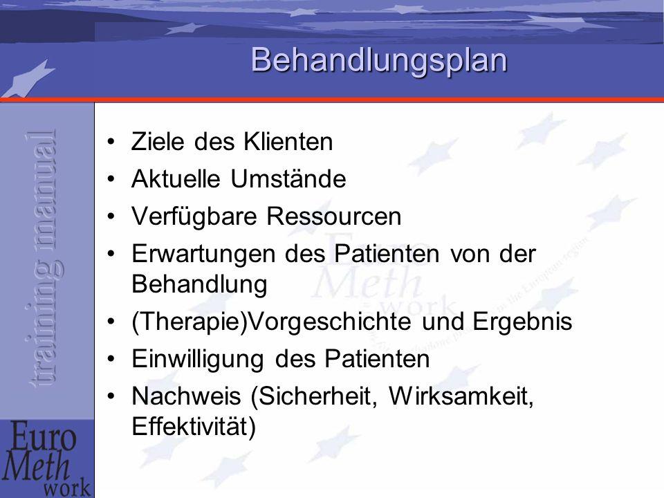 Behandlungsplan Ziele des Klienten Aktuelle Umstände Verfügbare Ressourcen Erwartungen des Patienten von der Behandlung (Therapie)Vorgeschichte und Er
