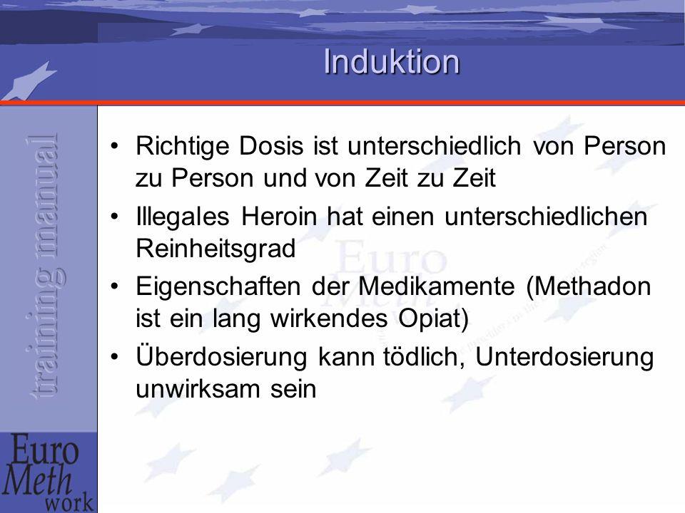Den Patienten über folgende Aspekte informieren: Verzögerte Spitzenplasmakonzentration der Ersatzdroge Ersatzdroge kann sich über einige Tage hinweg akkumulieren, i.e.