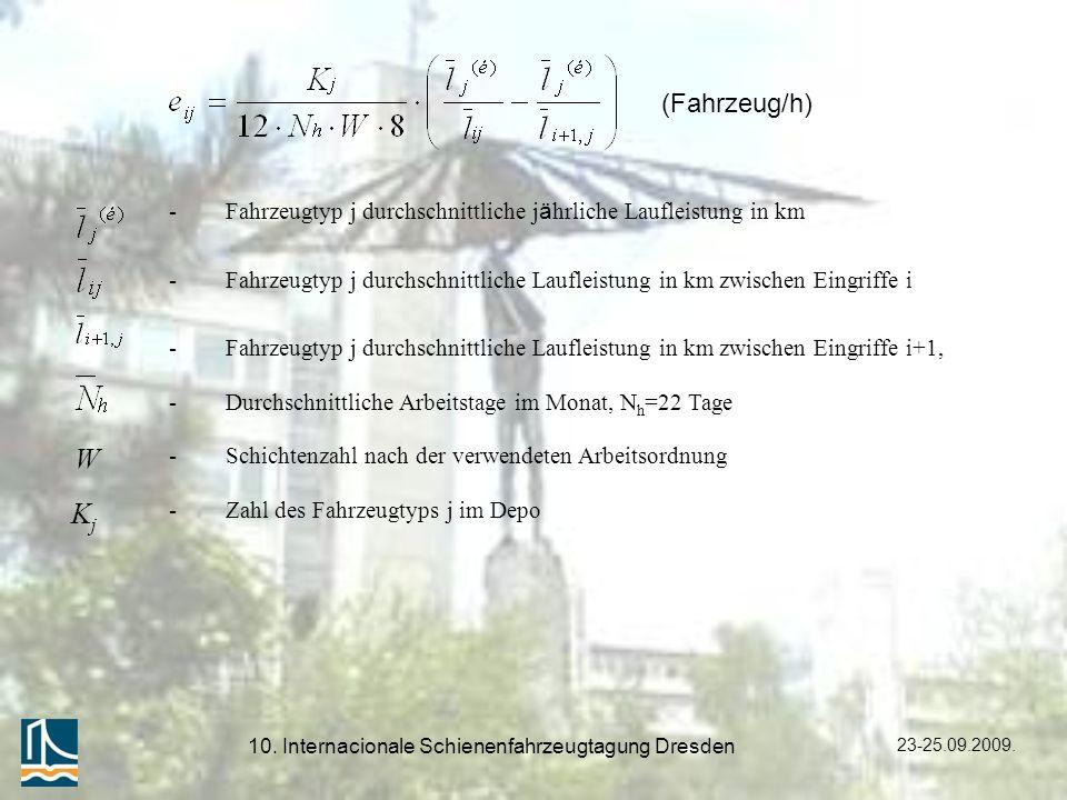 23-25.09.2009. 10. Internacionale Schienenfahrzeugtagung Dresden (Fahrzeug/h) - Fahrzeugtyp j durchschnittliche j ä hrliche Laufleistung in km -Fahrze