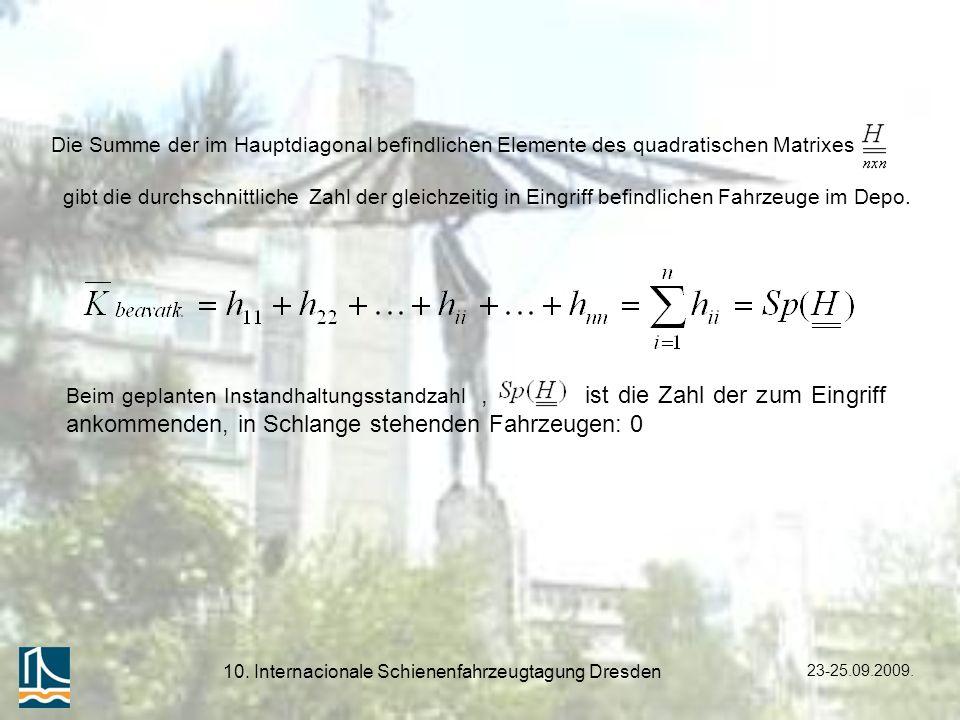 23-25.09.2009. 10. Internacionale Schienenfahrzeugtagung Dresden Beim geplanten Instandhaltungsstandzahl, ist die Zahl der zum Eingriff ankommenden, i