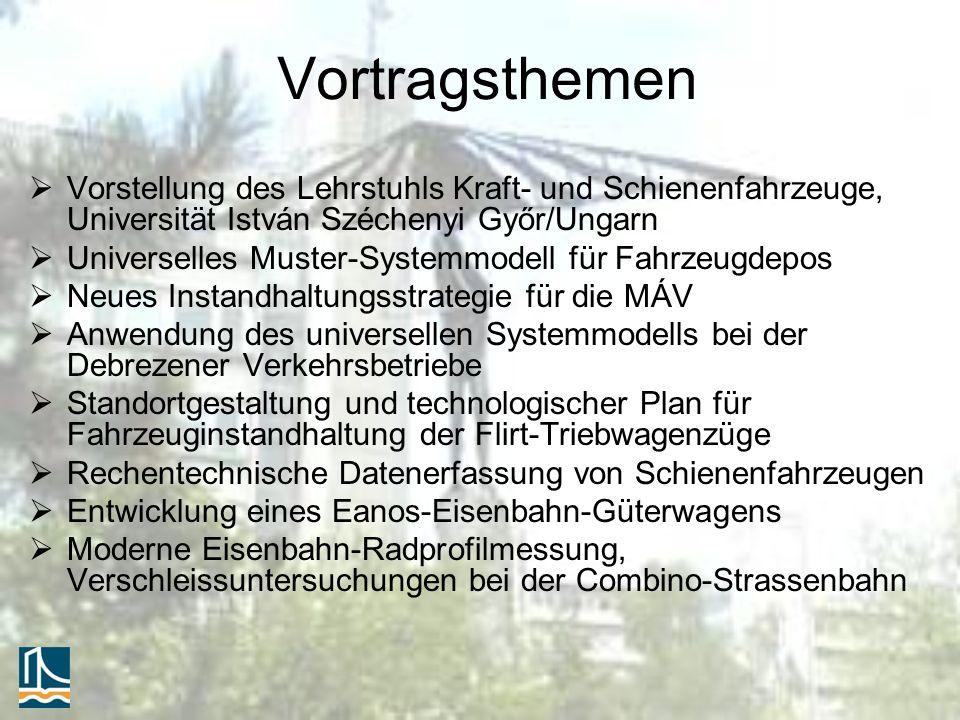 Vortragsthemen Vorstellung des Lehrstuhls Kraft- und Schienenfahrzeuge, Universität István Széchenyi Győr/Ungarn Universelles Muster-Systemmodell für