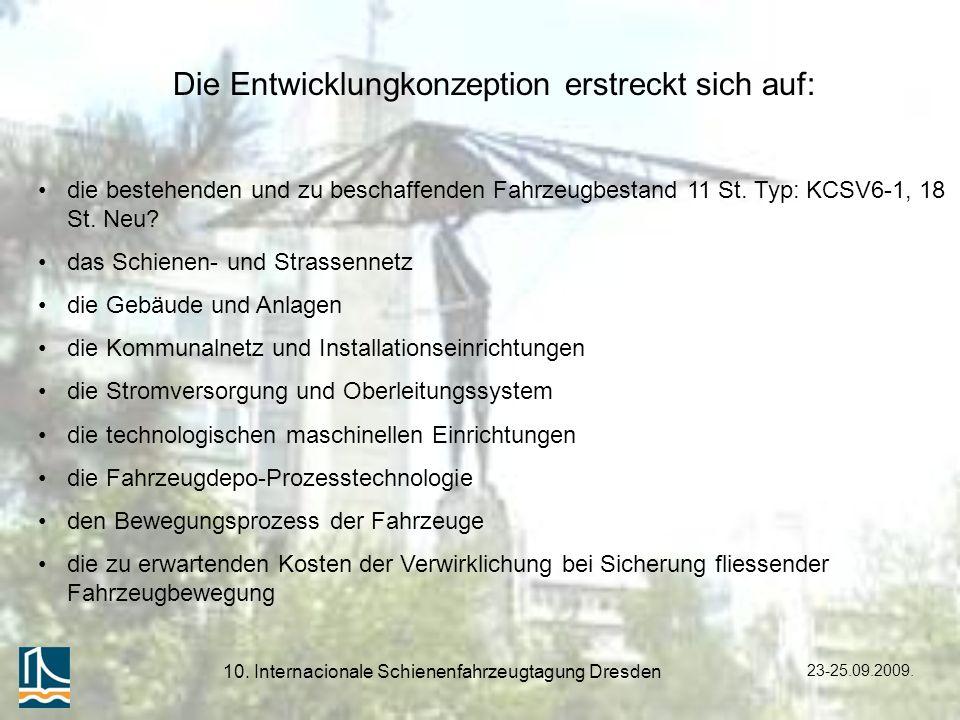 23-25.09.2009. 10. Internacionale Schienenfahrzeugtagung Dresden Die Entwicklungkonzeption erstreckt sich auf: die bestehenden und zu beschaffenden Fa