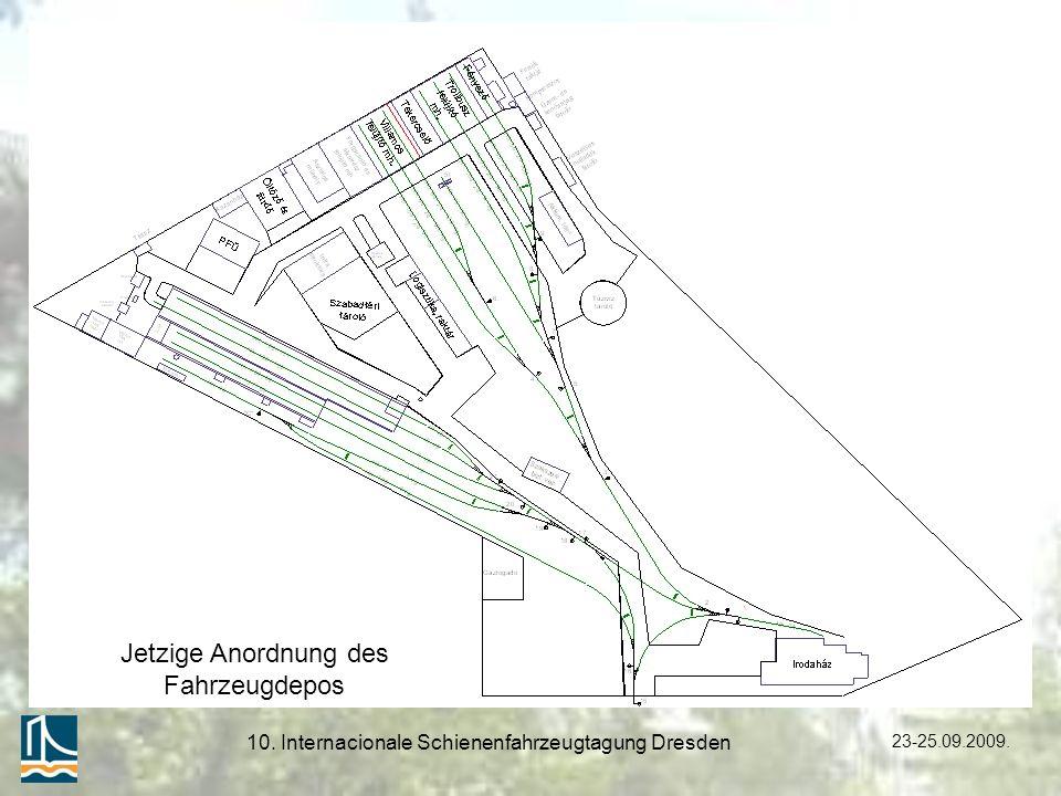 23-25.09.2009. 10. Internacionale Schienenfahrzeugtagung Dresden Jetzige Anordnung des Fahrzeugdepos