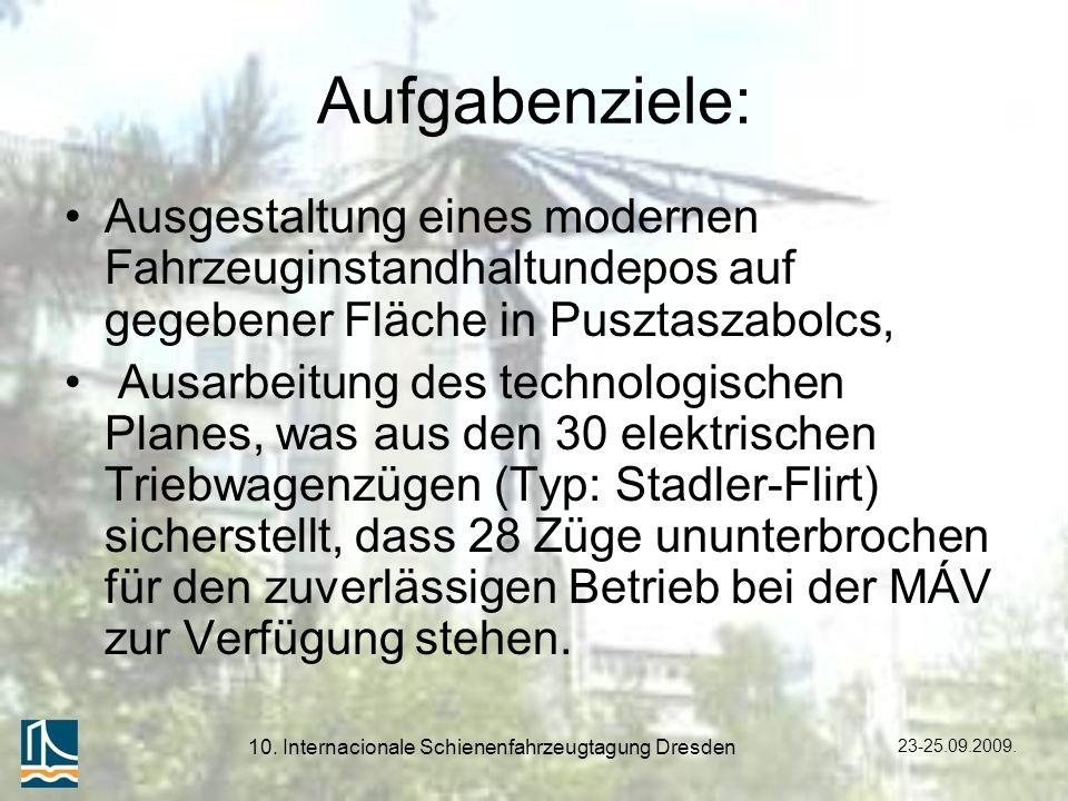 23-25.09.2009. 10. Internacionale Schienenfahrzeugtagung Dresden Aufgabenziele: Ausgestaltung eines modernen Fahrzeuginstandhaltundepos auf gegebener