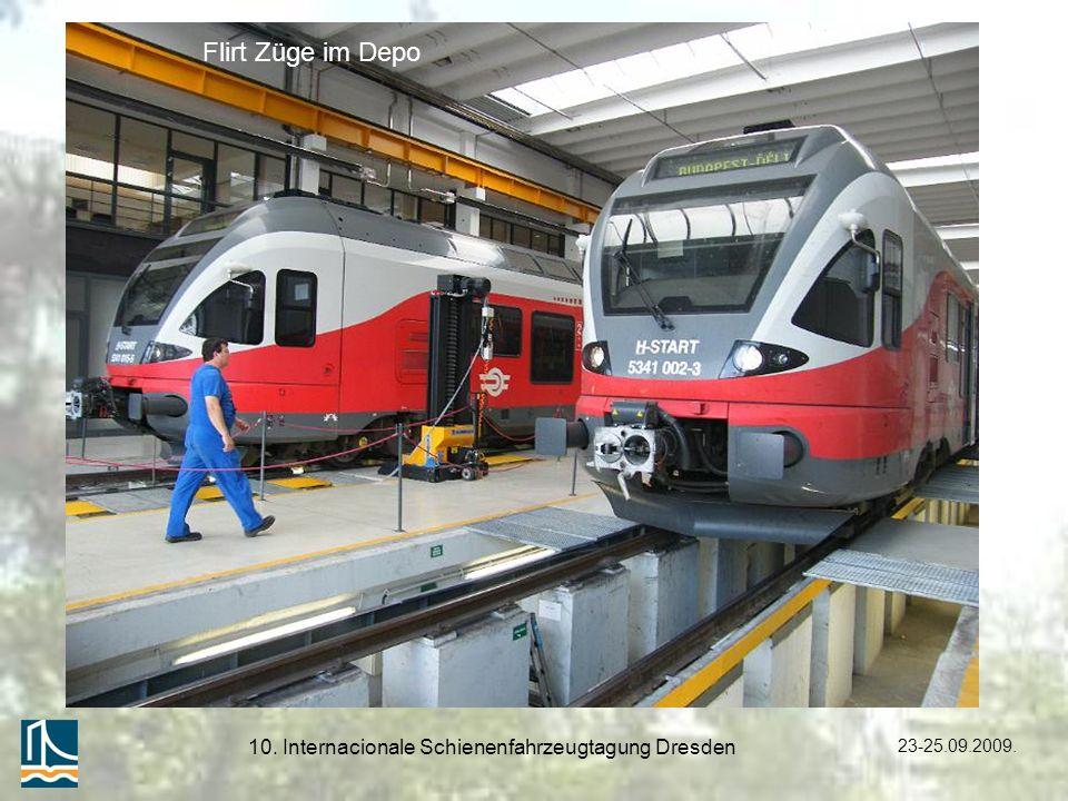23-25.09.2009. 10. Internacionale Schienenfahrzeugtagung Dresden Flirt Züge im Depo