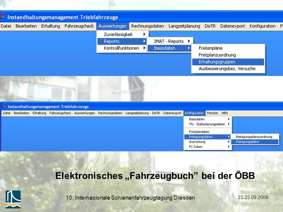 23-25.09.2009. 10. Internacionale Schienenfahrzeugtagung Dresden Elektronisches Fahrzeugbuch bei der ÖBB