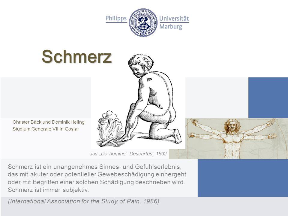 Schmerz Christer Bäck und Dominik Heling Studium Generale VII in Goslar Schmerz ist ein unangenehmes Sinnes- und Gefühlserlebnis, das mit akuter oder potentieller Gewebeschädigung einhergeht oder mit Begriffen einer solchen Schädigung beschrieben wird.