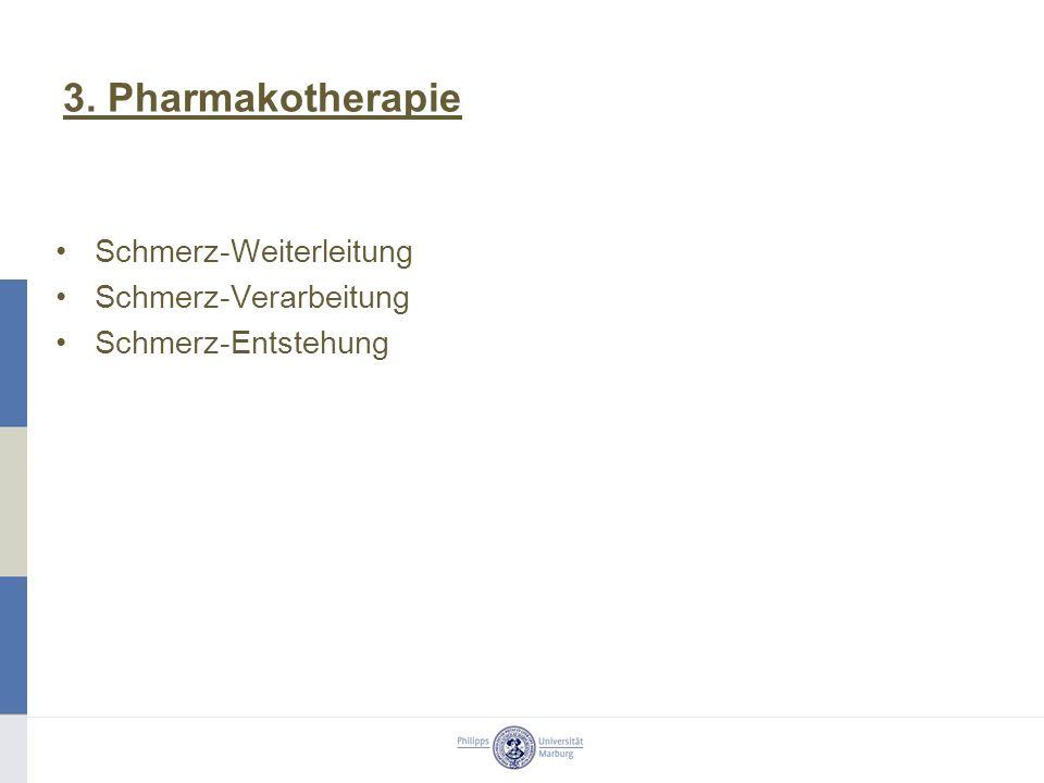 3. Pharmakotherapie Schmerz-Weiterleitung Schmerz-Verarbeitung Schmerz-Entstehung