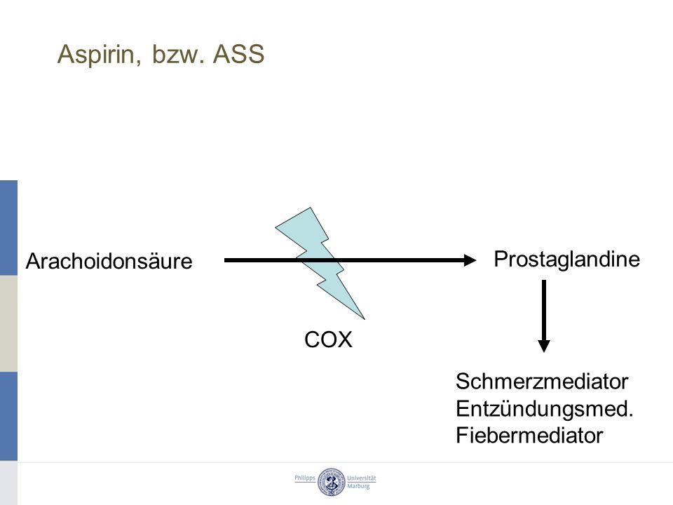 Aspirin, bzw. ASS Schmerzmediator Entzündungsmed. Fiebermediator Arachoidonsäure Prostaglandine COX