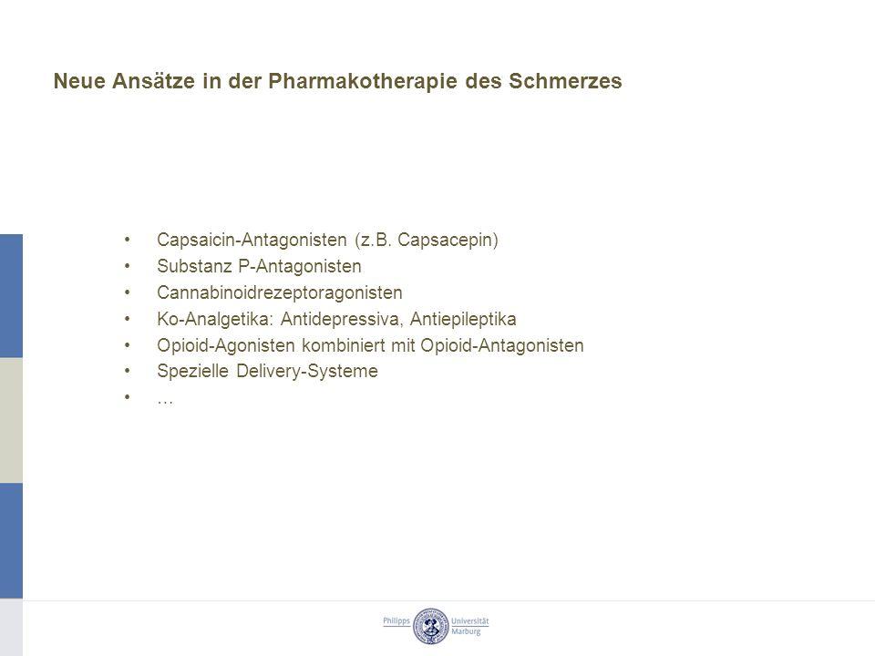 Neue Ansätze in der Pharmakotherapie des Schmerzes Capsaicin-Antagonisten (z.B. Capsacepin) Substanz P-Antagonisten Cannabinoidrezeptoragonisten Ko-An