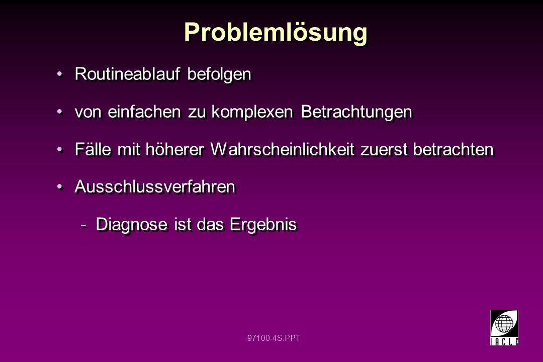 97100-4S.PPT Problemlösung Routineablauf befolgen von einfachen zu komplexen Betrachtungen Fälle mit höherer Wahrscheinlichkeit zuerst betrachten Auss