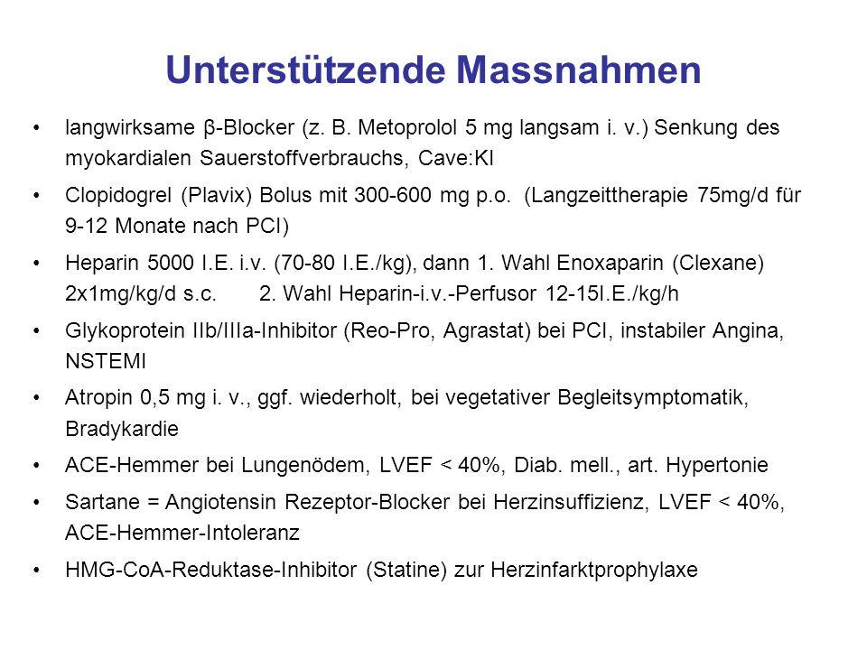 Unterstützende Massnahmen langwirksame β-Blocker (z.