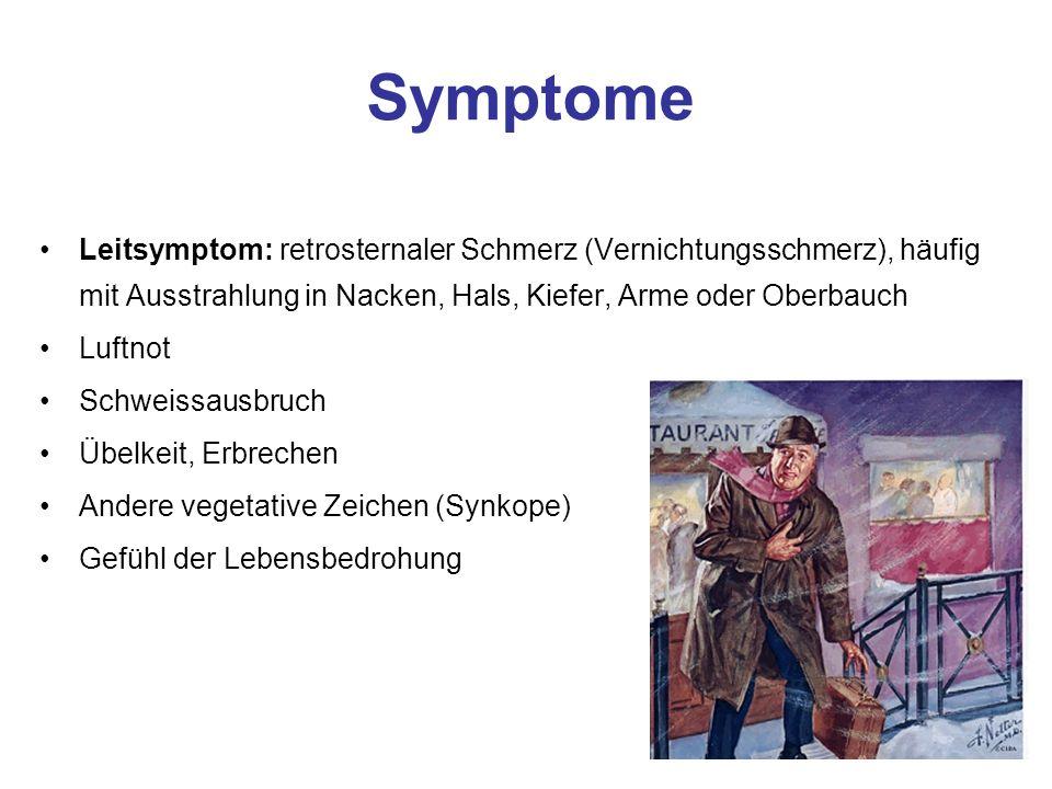 Differentialdiagnosen zum akuten Koronarsyndrom Kardiovaskuläre Erkrankungen - (Tachykarde) Rhythmusstörungen - Perikarditis - Myokarditis - Aortendissektion Pulmonale Erkrankungen - Lungenembolie - Pleuritis - Pneumothorax Skeletterkrankungen - Rippenfraktur/Prellungen - BWS-Erkrankungen Gastrointestinalerkrankungen - Oesophagitis/Ruptur - Ulcus (Perforation) - Akute Pankreatitis - Gallenkollik Weitere Krankheitsbilder - Herpes Zoster - Tumorerkrankungen des Skelett/Thoraxwand