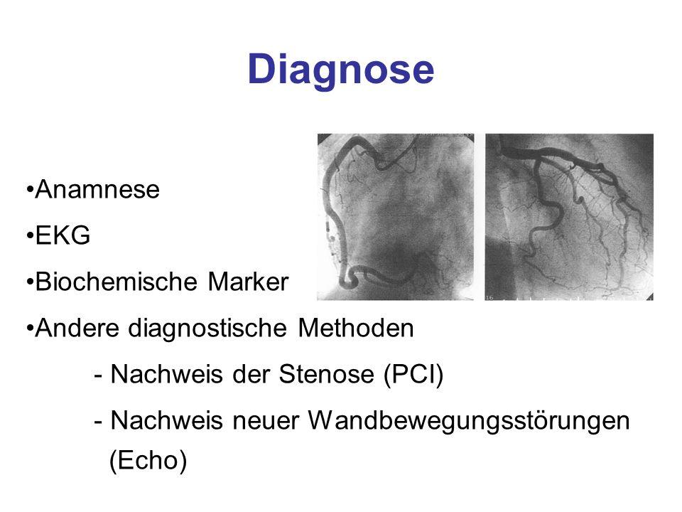 Diagnose Anamnese EKG Biochemische Marker Andere diagnostische Methoden - Nachweis der Stenose (PCI) - Nachweis neuer Wandbewegungsstörungen (Echo)