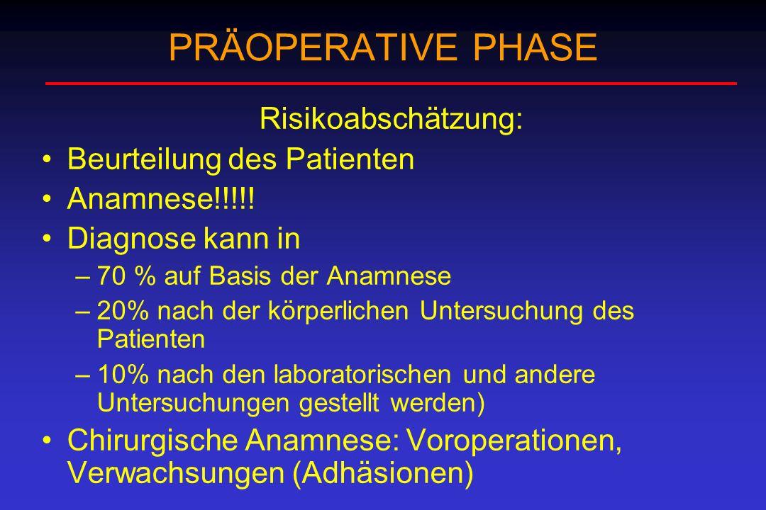 PRÄOPERATIVE PHASE Risikoabschätzung: Beurteilung des Patienten Anamnese!!!!! Diagnose kann in –70 % auf Basis der Anamnese –20% nach der körperlichen