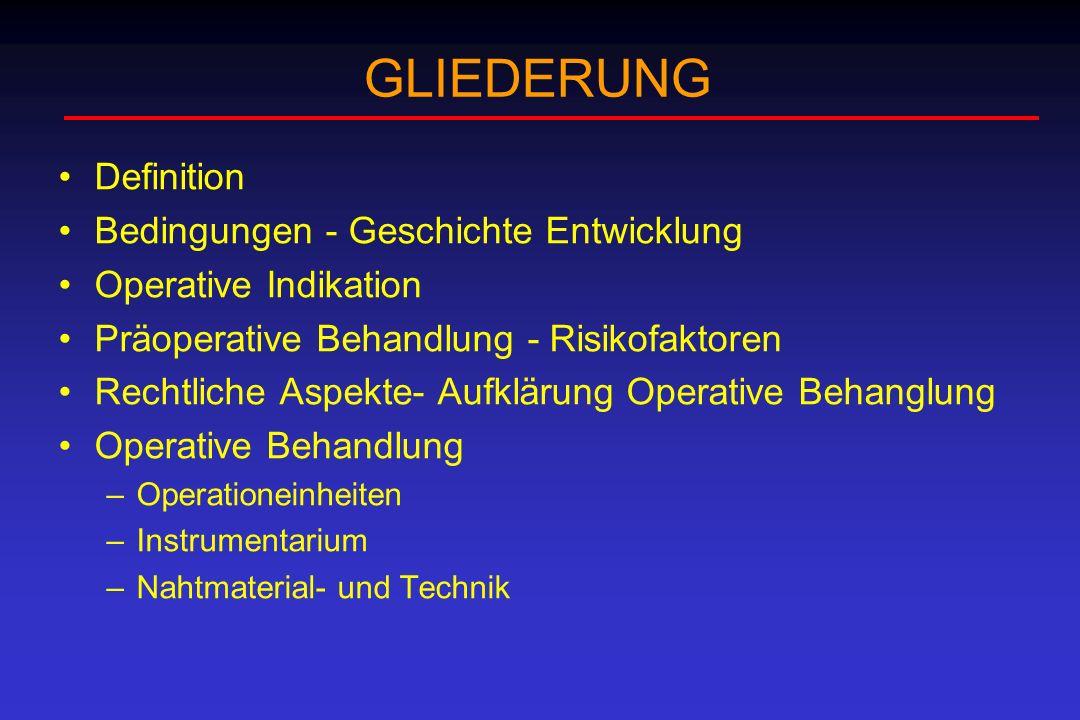GLIEDERUNG Definition Bedingungen - Geschichte Entwicklung Operative Indikation Präoperative Behandlung - Risikofaktoren Rechtliche Aspekte- Aufklärun