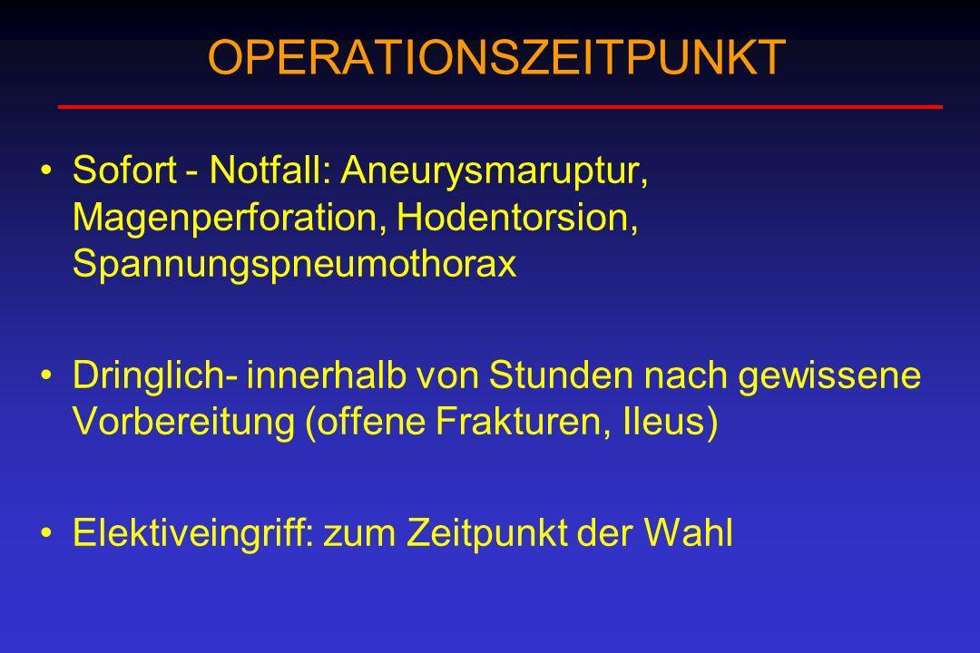 OPERATIONSZEITPUNKT Sofort - Notfall: Aneurysmaruptur, Magenperforation, Hodentorsion, Spannungspneumothorax Dringlich- innerhalb von Stunden nach gew