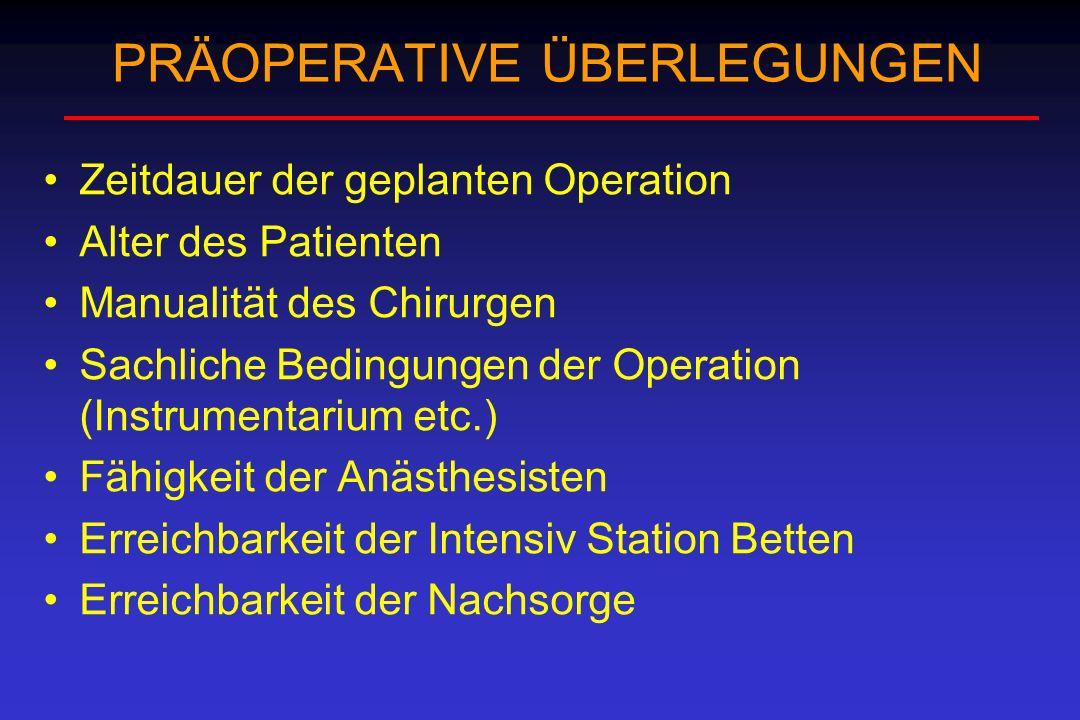 PRÄOPERATIVE ÜBERLEGUNGEN Zeitdauer der geplanten Operation Alter des Patienten Manualität des Chirurgen Sachliche Bedingungen der Operation (Instrume
