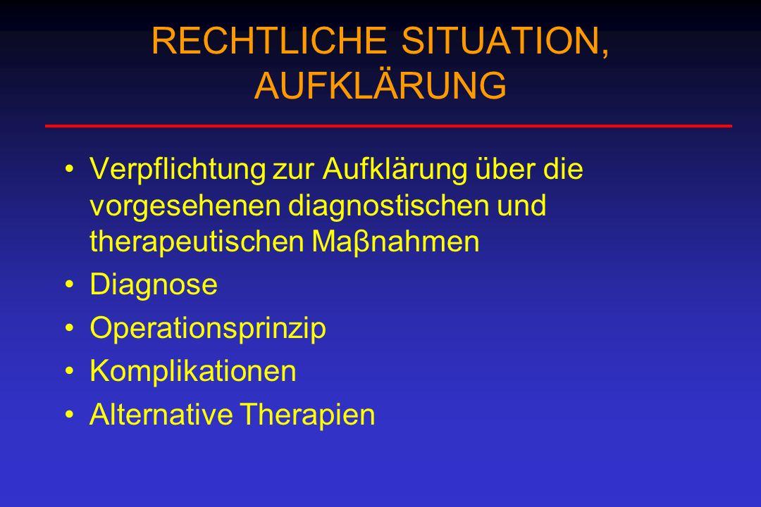 RECHTLICHE SITUATION, AUFKLÄRUNG Verpflichtung zur Aufklärung über die vorgesehenen diagnostischen und therapeutischen Maβnahmen Diagnose Operationspr