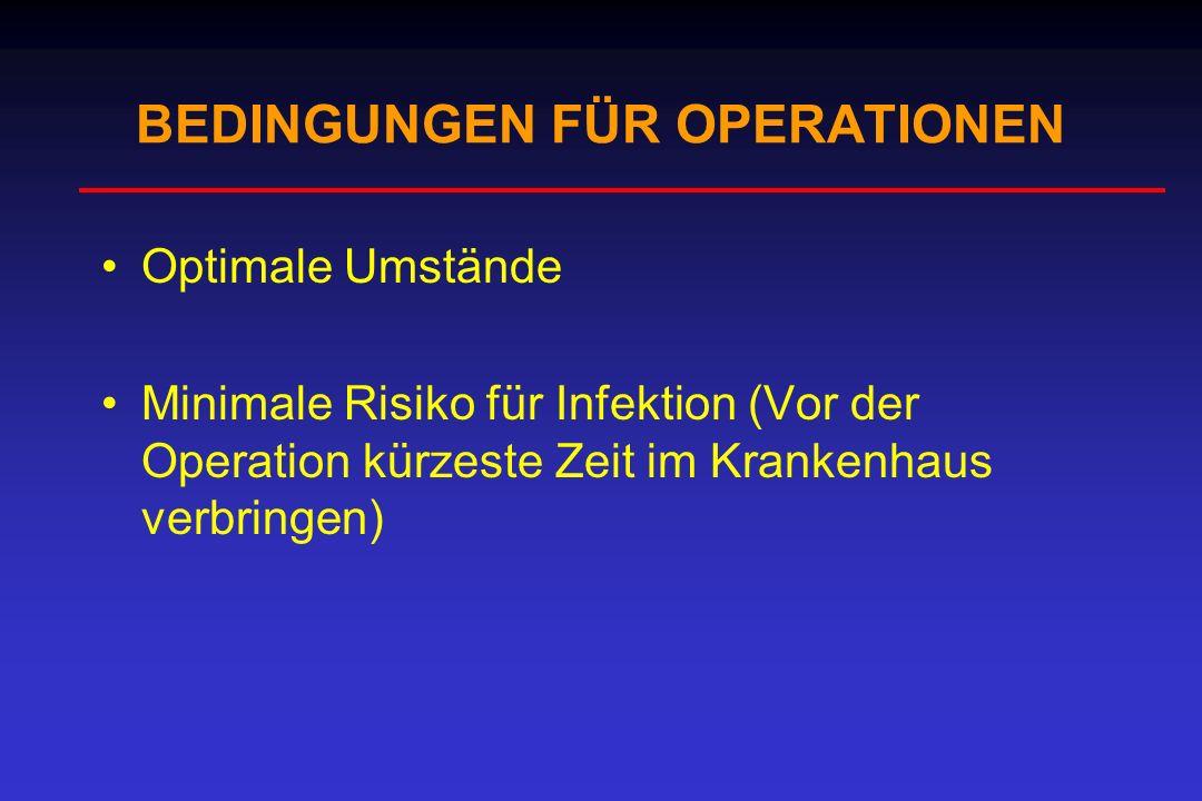 Optimale Umstände Minimale Risiko für Infektion (Vor der Operation kürzeste Zeit im Krankenhaus verbringen) BEDINGUNGEN FÜR OPERATIONEN