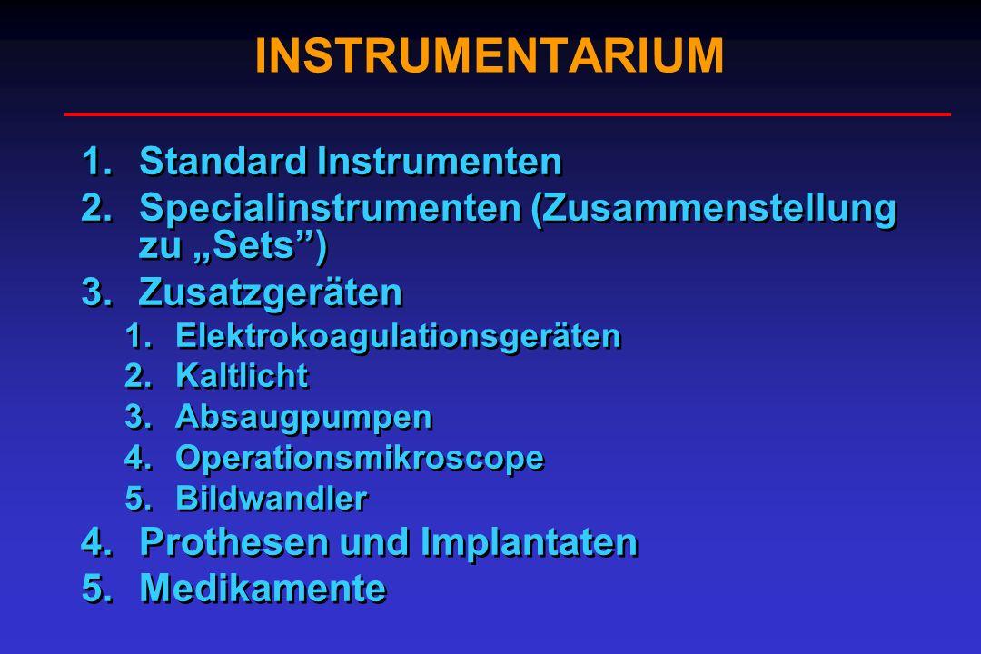 INSTRUMENTARIUM 1.Standard Instrumenten 2.Specialinstrumenten (Zusammenstellung zu Sets) 3.Zusatzgeräten 1.Elektrokoagulationsgeräten 2.Kaltlicht 3.Ab